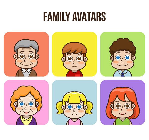 素材分类: 矢量生活人物所需点数: 0 点 关键词: 6款可爱家族人物