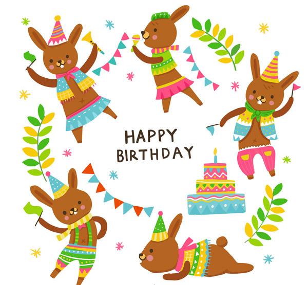 兔子生日祝福卡