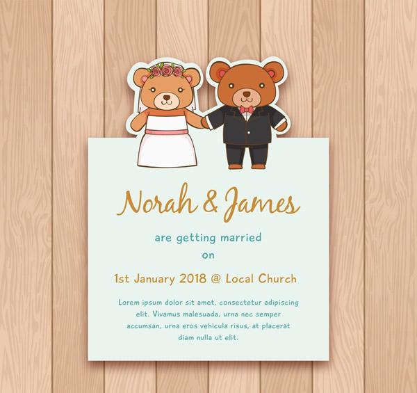 可爱熊婚礼邀请卡