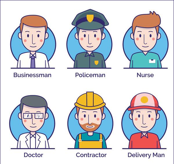 6款创意职业男子头像矢量素材,医生,警察,商务,工人,护士,快递员,职业