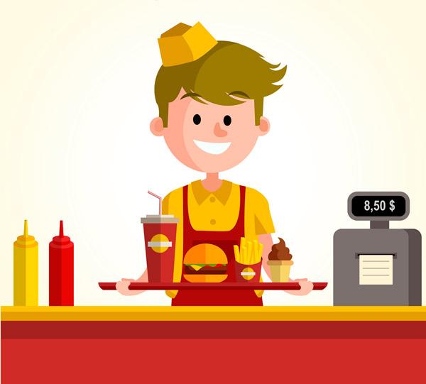 汉堡包,可乐,薯条,收银台,番茄酱,蛋黄酱,男子,快餐店,服务生,店员,冰图片