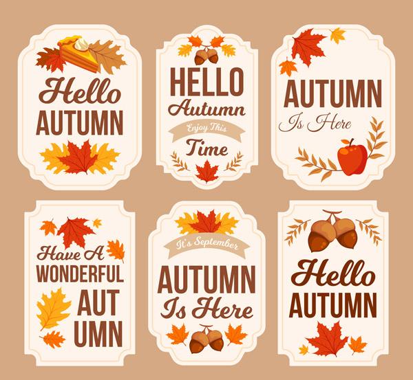 彩色秋季标签