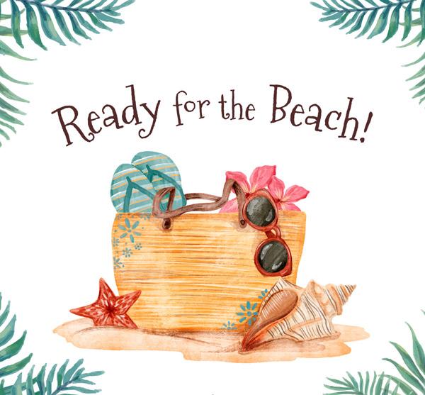 水彩绘沙滩度假