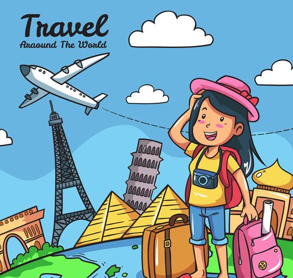 意大利,金字塔,埃及,凯旋门,泰姬陵,背包,环球旅行,云朵,照相机,行李