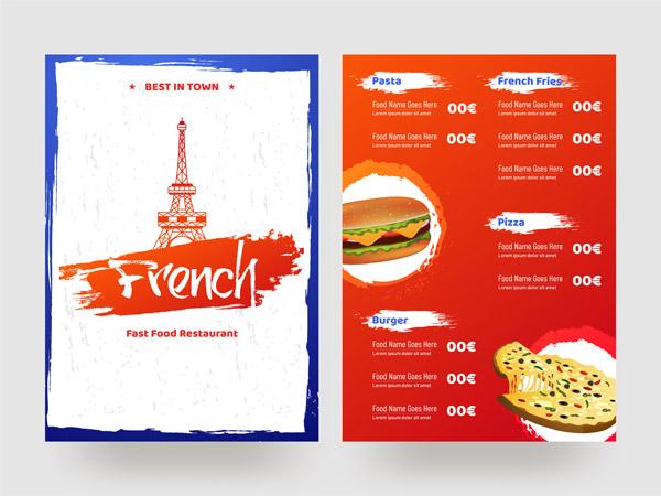 法式快餐餐厅菜单