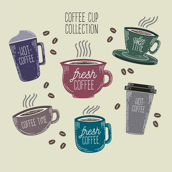 彩色英文咖啡杯
