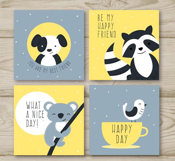 可爱的动物卡片