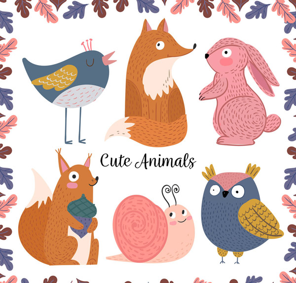 鸟,树叶,狐狸,兔子,松鼠,坚果,蜗牛,猫头鹰,彩绘,动物,野生动物,矢量