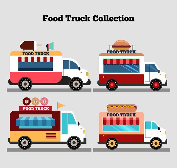 矢量交通所需点数: 0 点 关键词: 4款创意快餐车设计矢量图,雪糕,汉堡