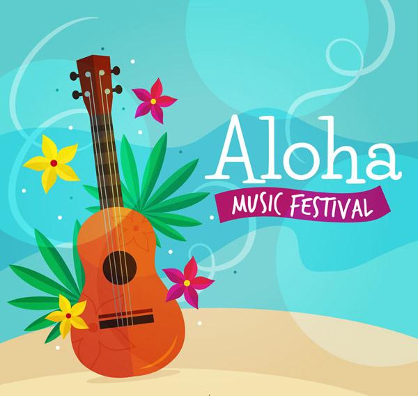 夏威夷吉他和花卉