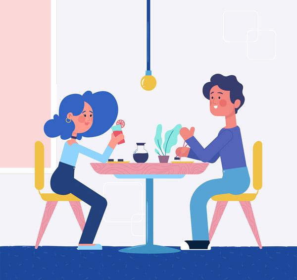 0 点 关键词: 创意吃饭的情侣设计矢量素材,用餐,约会,餐桌,餐饮