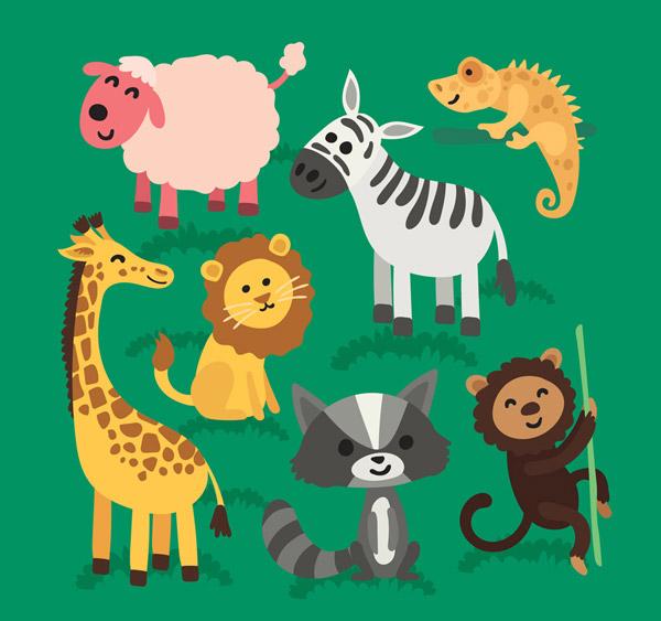 0 点 关键词: 7款可爱动物设计矢量素材,绵羊,长颈鹿,变色龙,斑马