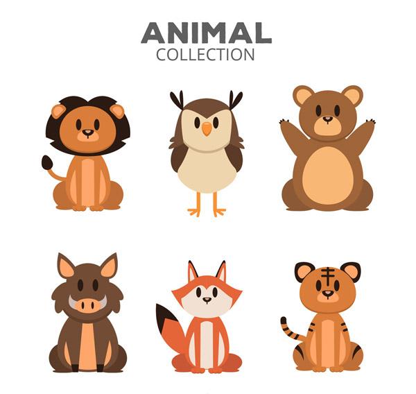 矢量卡通动物所需点数: 0 点 关键词: 6款卡通动物半身像卡片矢量素材图片