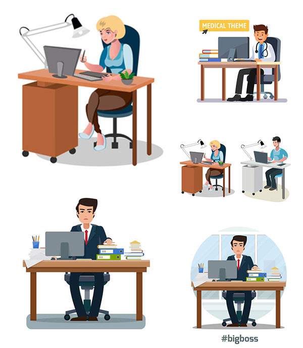 矢量图,设计素材,创意设计,商务,职场,人物,员工,职员,办公室,办公桌