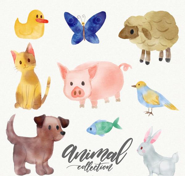 0 点 关键词: 9款水彩绘可爱动物设计矢量素材,鸭子,蝴蝶,绵羊,猫,猪