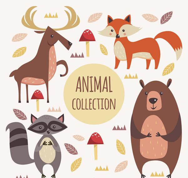 4款创意森林动物矢量素材,蘑菇,狐狸,浣熊,熊,驯鹿,森林,动物,矢量图