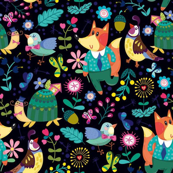 森林动物背景,蜗牛,栗子,小鸟,蝴蝶,儿童主题壁纸,eps格式 下载文件