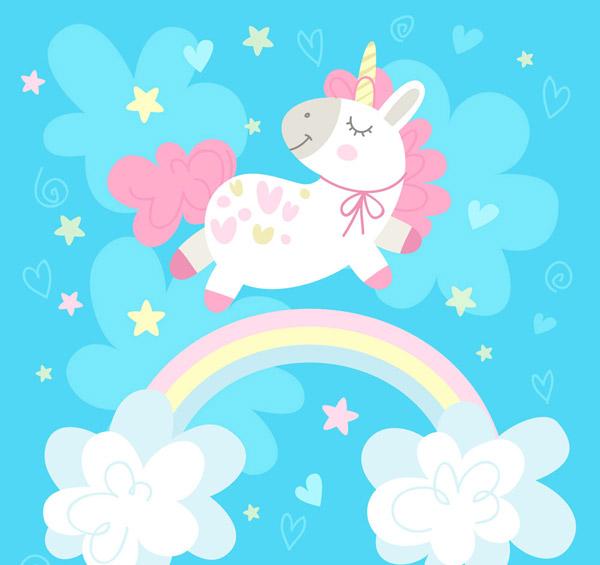 素材分类: 矢量卡通动物所需点数: 0 点 关键词: 彩虹上的粉色独角兽