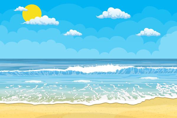 夏季大海沙滩风景