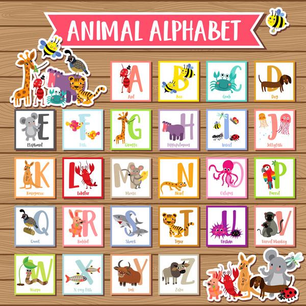 素材分类: 矢量艺术字所需点数: 0 点 关键词: 卡通动物字母表,卡通