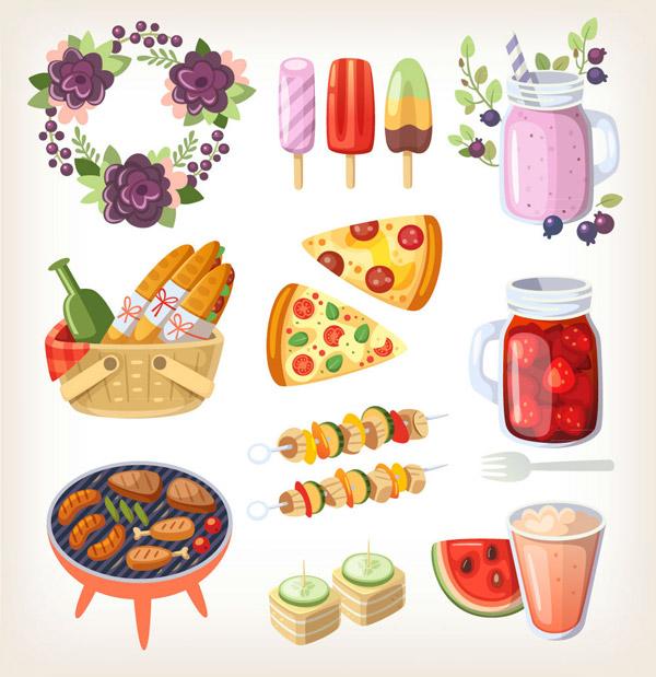 卡通野餐食物图片