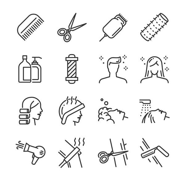 关键词: 美发沙龙图标,美发图标,美发用品图标,梳子,剪刀,发卷,洗发水