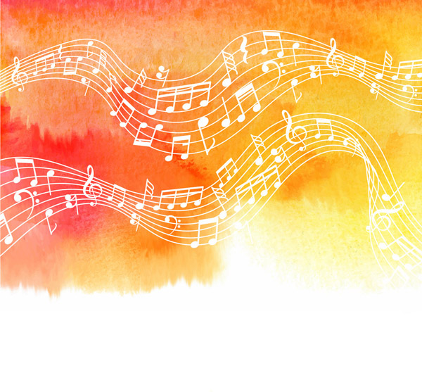 水彩绘白色乐谱
