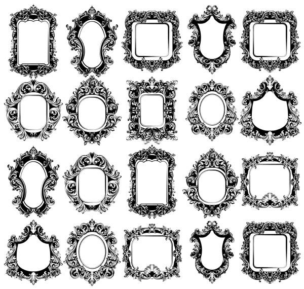 巴洛克镜框矢量