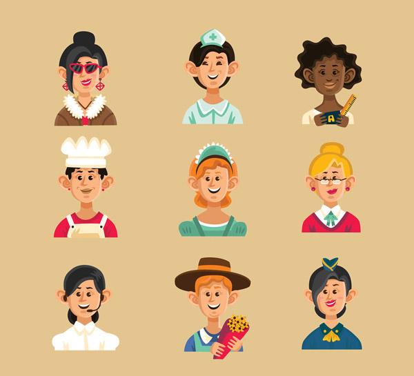 0 点 关键词: 9款微笑职业女子头像矢量素材,演员,护士,理发师,厨师