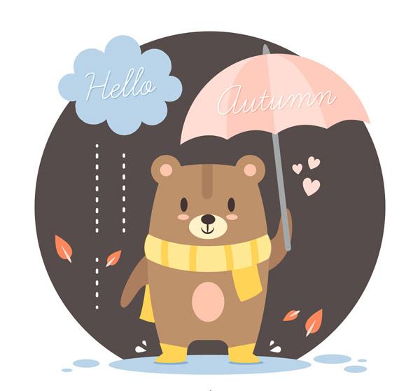 爱心,树叶,落叶,秋季,雨,打伞,熊,云朵,矢量图,ai格式 下载文件特别说