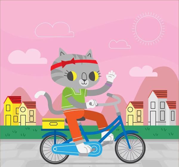 素材分类: 矢量卡通动物所需点数: 0 点 关键词: 卡通骑单车的猫咪