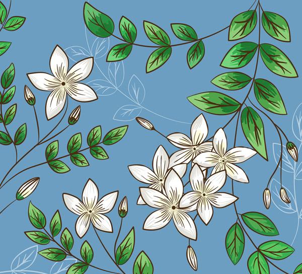 素材分类: 矢量花草树木所需点数: 0 点 关键词: 彩绘茉莉花花枝矢量