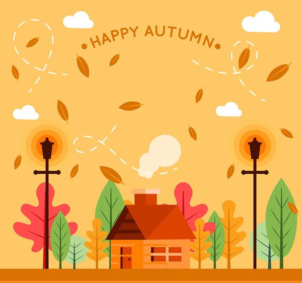 矢量建筑景观所需点数: 0 点 关键词: 扁平化秋季房屋风景矢量素材