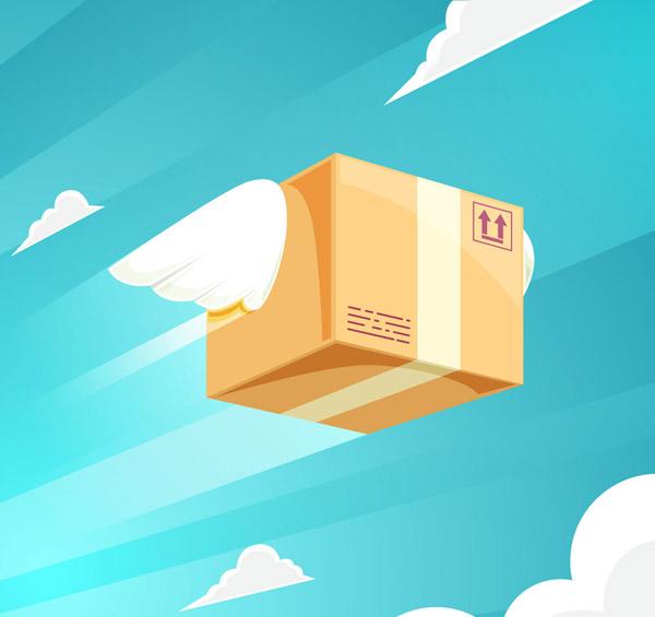 卡通戴翅膀飞行的包裹矢量素材,云朵,天空,快递,翅膀,包裹,矢量图,ai