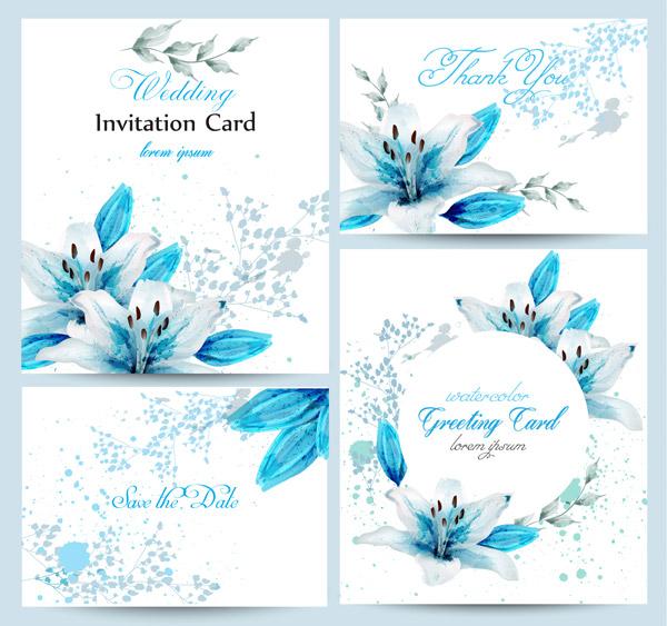 蓝百合水彩婚礼卡