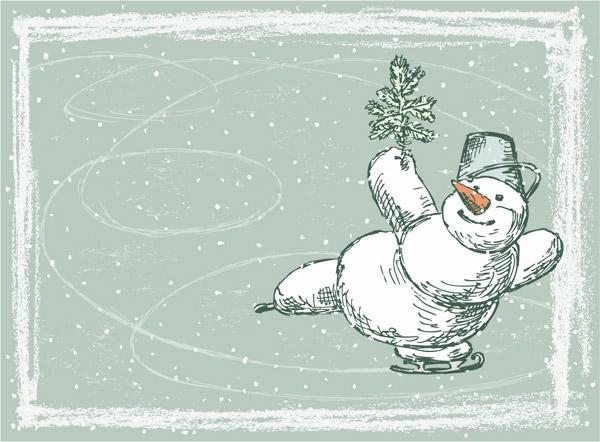 手绘滑冰雪人