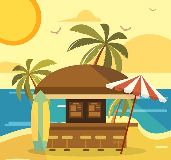矢量建筑景观所需点数: 0 点 关键词: 创意度假沙滩上的酒吧矢量素材