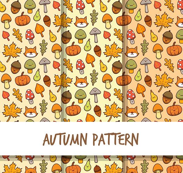 0 点 关键词: 3款彩绘秋季动物头像无缝背景矢量图,蘑菇,橡子,梨
