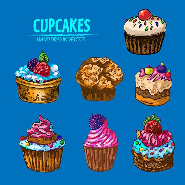 素材分类: 矢量美食所需点数: 0 点 关键词: 7款彩绘纸杯蛋糕设计