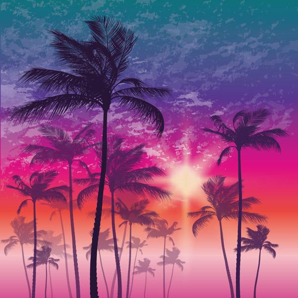 点 关键词: 梦幻夕阳下的棕榈树矢量素材,夕阳,棕榈树,沙滩,风景,矢量