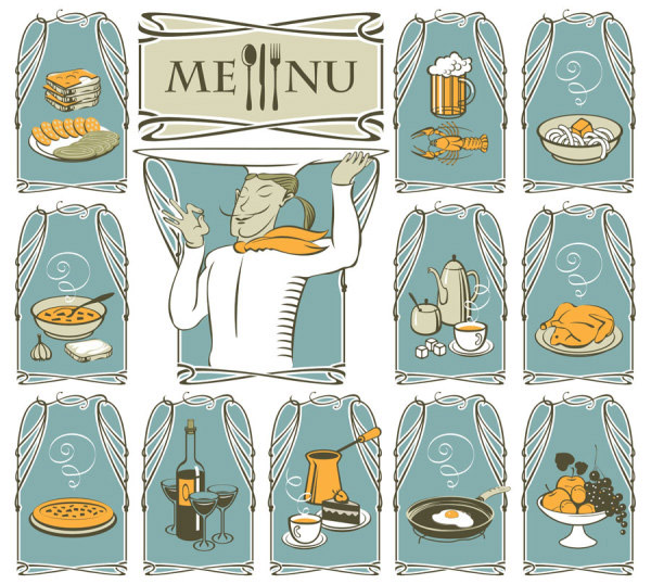 卡通西餐图案