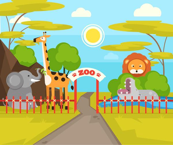 狮子,长颈鹿,大象,河马,树木,道路,太阳,栅栏,动物园,入口,大门,矢量