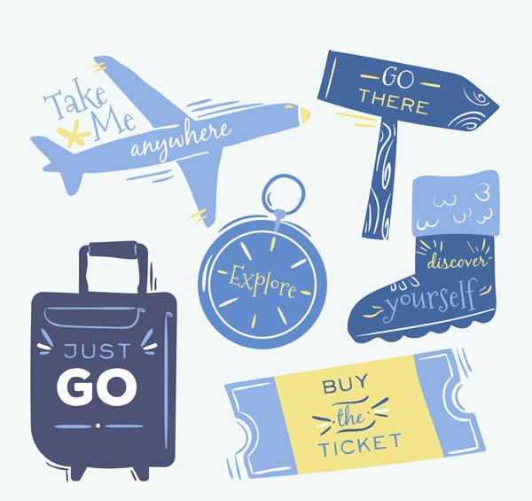旅行语言物品矢量