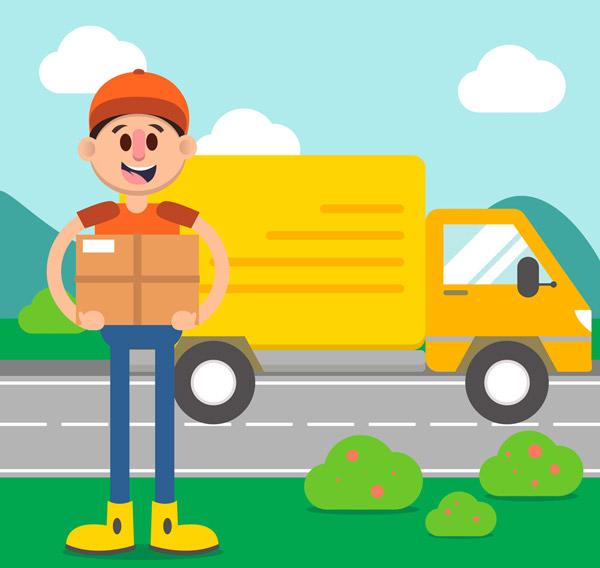 送货车和快递员_素材中国sccnn.com