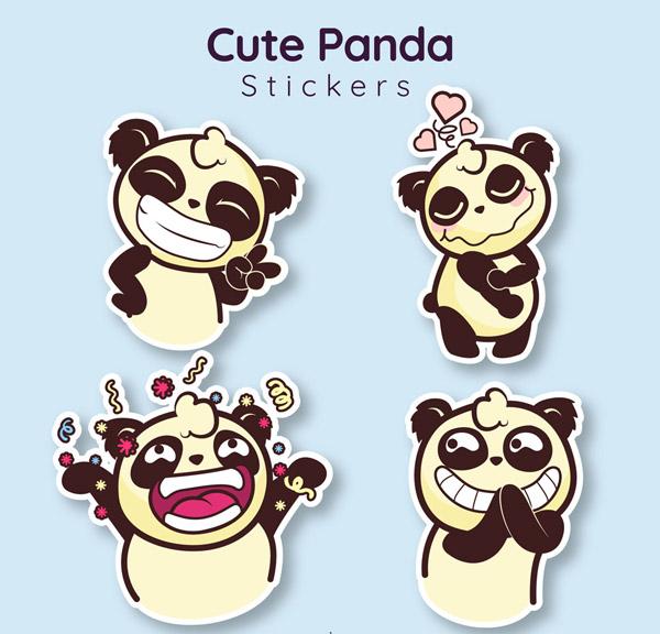 矢量卡通动物所需点数: 0 点 关键词: 4款可爱熊猫贴纸矢量素材,爱心