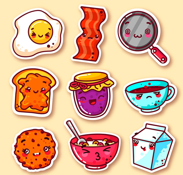 素材分类: 矢量卡通物品所需点数: 0 点 关键词: 可爱早餐元素表情