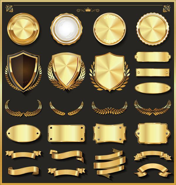 豪华金银徽标元素