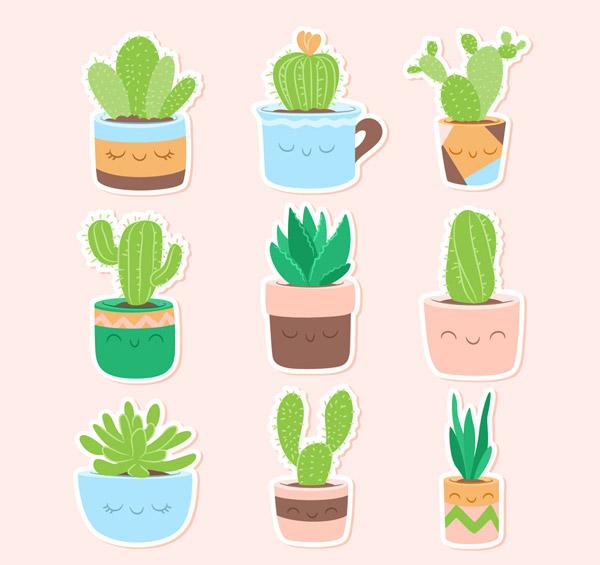0 点 关键词: 9款可爱仙人掌盆栽贴纸矢量图,仙人球,植物,仙人掌