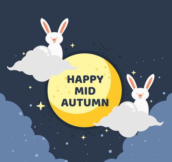 月亮,happy,midautumn,可爱,中秋季,云朵,白兔,矢量图,ai格式 下载