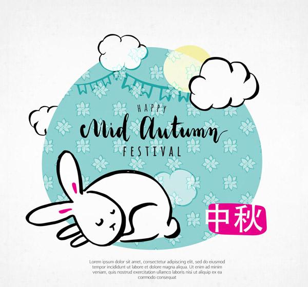 手绘中秋节白兔矢量素材,花卉,云朵,拉旗,月亮,手绘,中秋节,兔子